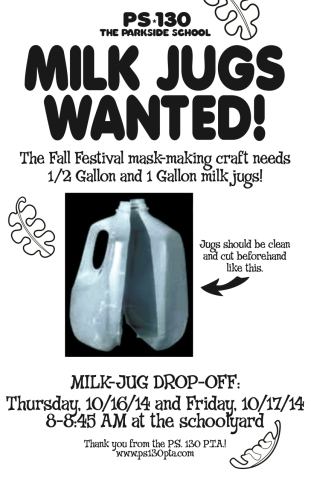 PS 130 Milk Jug Wanted Flyer