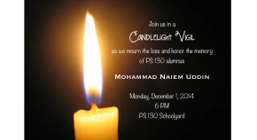 Candlelight Vigil in Honor of PS 130 Alumnus