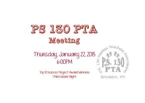 PTA Meeting: Thursday, January 22nd6PM