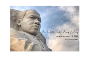 Dr. Martin Luther King, Jr. Day: School'sClosed