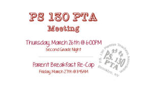 PTA Meeting: Thursday, March 26, 2016
