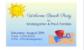 """Pre-K & Kindergarten Welcome """"BeachParty"""""""