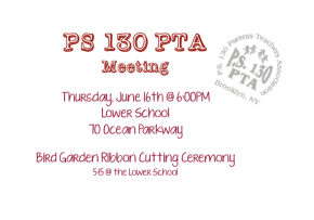 PTA Meeting: Thursday, June 16th