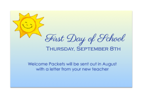 First Day of School: Thursday, September 8th