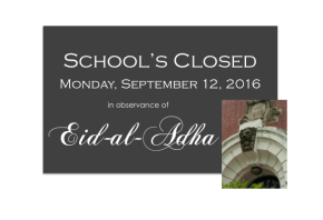 School's Closed: Monday, September 12th