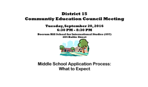 District 15 CEC Meeting on the Middle School Application Process
