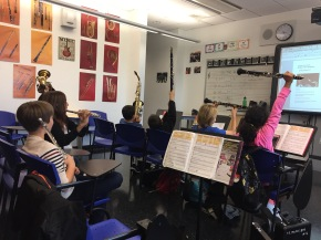 The PS 130 Band eagerly anticipating our guest clinician, Saxophonist JDAllen