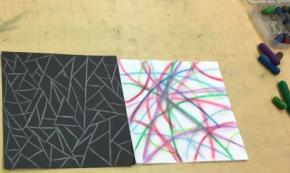 Exploring drawing materials in the PS130 artstudios
