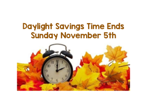 Daylight Savings Time Ends!