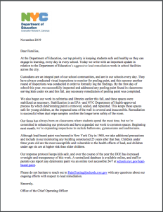 Chancellor Carranza's Letter on Lead Based Paint